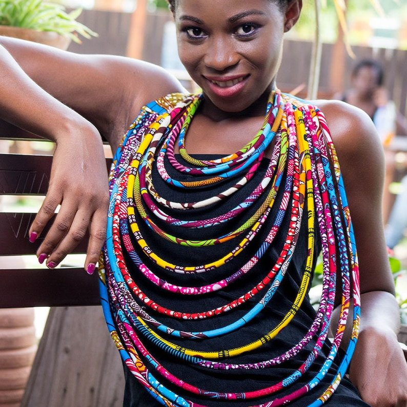 For her Ankara Necklace Amina 15 Step Necklace Multi strand necklace African Print Necklace