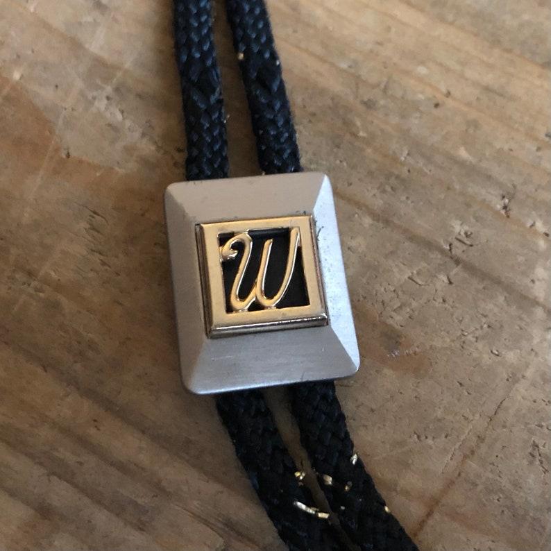 Gold and Silver Tone Vintage Western Swank \u201cW\u201d Initial Bolo Tie