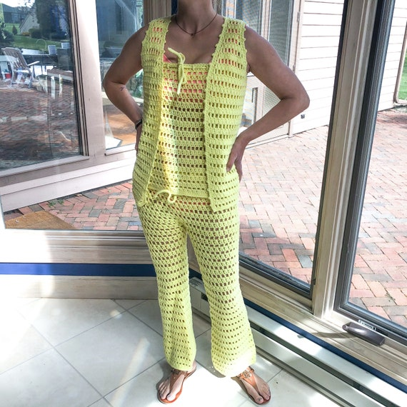 60's Vintage 3-Piece Yellow Knit Vest, Top and Pan
