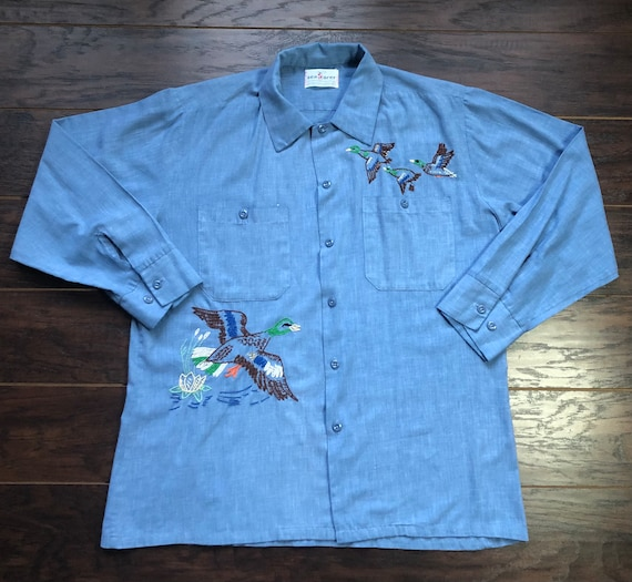 70's Vintage Men's Chambray Seafarer Embroidered S