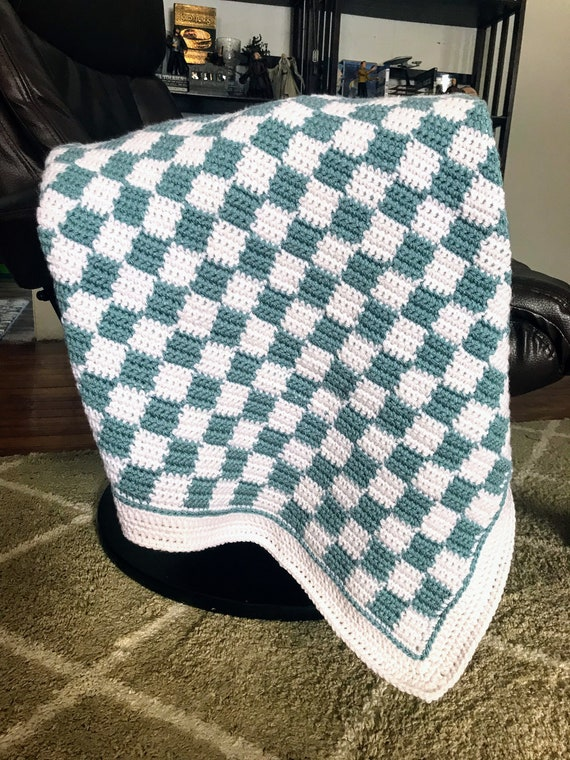 Teal /& White Checkered Crochet Baby Blanket