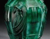 Vintage Schlevogt Ingrid Nude Art Deco Malachite Glass Vase by Artur Plevar, Czech Republic 1935