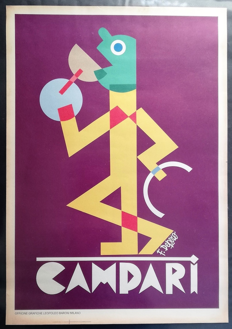Scarce Original Vintage Italien Advertising Poster for Campari by Fortunato  Depero 1928