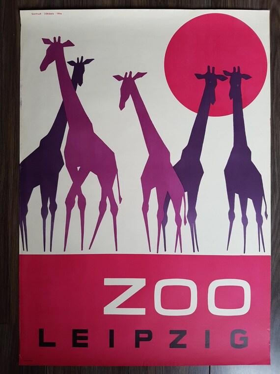Original Deutschen Oldtimer Poster Zoo Leipzig Aus Etsy