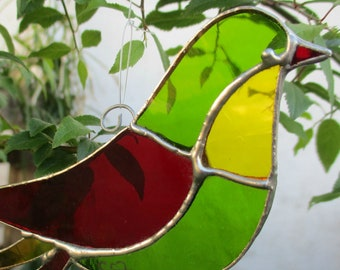 """Art Nouveau stained glass red yellow green bird, """"the Smart"""", romantic home decor, poetic garden object, Tiffany art creation, suncatcher"""