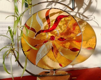 """Red and yellow """"Golden Sun"""" stained glass, acacia and metal foot, art nouveau, Tiffany style, glass sun catcher, interior decoration"""