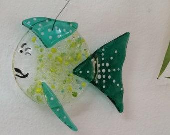 Roberta la Rapiat, blue and green fish in glass fusion, sun catcher, interior decoration, marine mobile, aquarium décor, marine décor