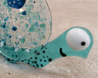 Marie-Chantal, the turquoise snail in glass fusion, sun catcher, interior decoration, exterior decoration