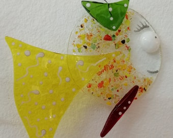 Demoiselle Petronie, red and green yellow fish, glass fusion, sun catcher, garden decoration, mobile burlesque animal, aquarium