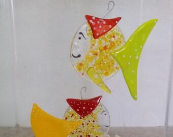 Donatien le Vendéen, orange and green fish in glass fusion, sun catcher, interior decoration, exterior decoration, aquarium décor