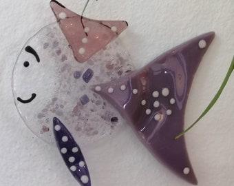 Barbara the busty, pink fish molten glass, sun catcher, garden decoration, mobile animal burlesque, aquarium