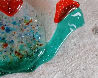 Hippolyte the garden snail, molten glass, turquoise and orange, sun catcher, interior decoration, exterior decoration