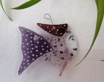 Pamela Rose, glass molten fish, sun catcher, garden decoration, mobile burlesque animal, aquarium