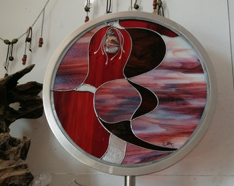 """""""L'Audacious"""" stained glass and its jewel in crazy lace red, art object, pendant, contemporary glass, interior decoration, art nouveau style,"""