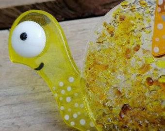 "Snail ""Edmond the Bourbon"" in fusion of glass, yellow and orange, sun catcher, interior decoration, exterior decoration"