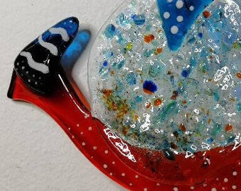 Dagobert the drooling, orange and blue snail, glass fusion, sun catcher, interior decoration, exterior decoration