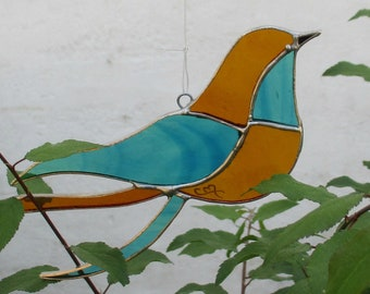 """Bird """"Innocent"""" blue and orange stained glass, suncatcher, decoration of garden, art nouveau style, unique gift, Tiffany style,"""