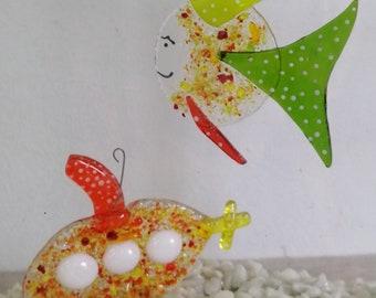 Sancho the desperado, green and orange fish, glass molten, mobile animal burlesque, sun catcher, garden decoration, aquarium