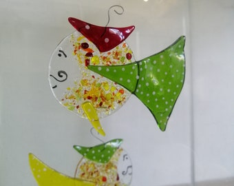 Graillon philemon, glass molten green and red fish, sun catcher, interior decoration, marine mobile, aquarium décor