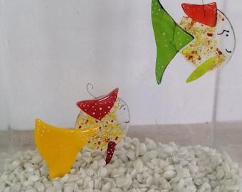 Anatole la guibole, tropical orange fish in melted glass, marine mobile, sun catcher, garden decoration, aquarium décor, seaside décor