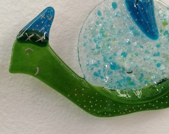 Bebère the lame, green and blue snail, glass fusion, sun catcher, garden decoration, mobile animal burlesque, aquarium