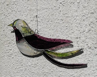 """Stained-glass bird """"Tenderness"""", wine lie sun catcher, nature atmosphere, art nouveau style, Tiffany stained-glass window, country wedding"""