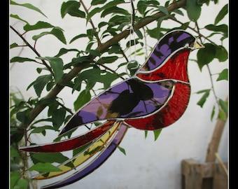 "Art nouveau stained glass purple red bird, ""the Mysterious"", Tiffany style, romantic home decor, suncatcher, poetic ornament, unique gift"
