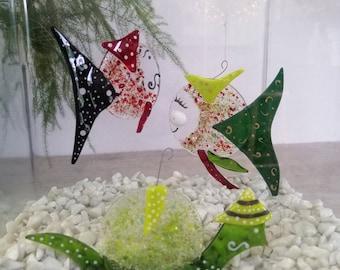 Isidore the mentor, glass molten gold and green fish, mobile burlesque animal, sun catcher, garden decoration, aquarium decoration