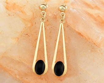 13fa15e7e0465 Black onyx and 14k gold earrings | Etsy NZ