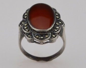Sterling Silver 925 Vintage Carnelian Marcasite Ring Size 8.25