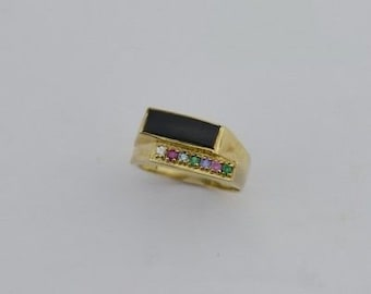 10k Yellow Gold Estate Black Onyx & Multi Colored Gemstone Ring Size 9.25