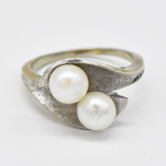 Vintage Band Ring 10 K Yellow Gold Round Cultured Pearl Dramatic Open Space Design Size 6     ** RL