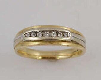 14k Yellow Gold Estate Mens Diamond Band/Ring Size 10.25