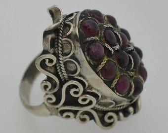 Sterling Silver 925 Ornate Carved Cabochon Amethyst Ring Size 8.5