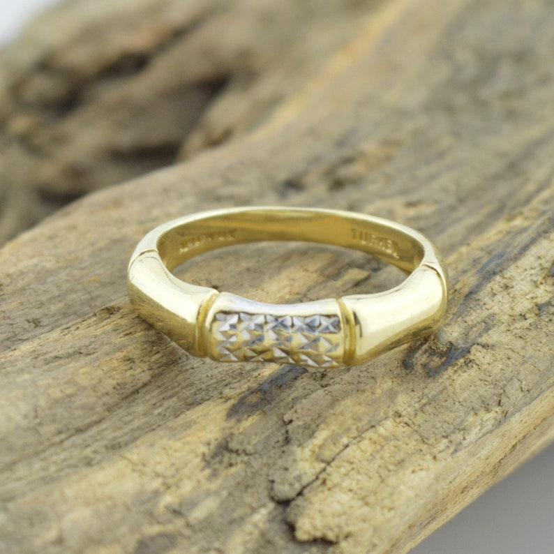 14k Gold Wide Diamond Cut Ring Size 7 Precious Metal Without Stones Jewelry & Watches