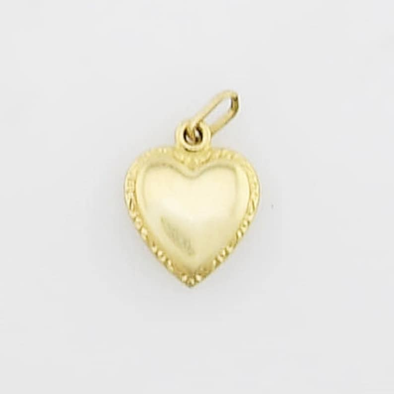 Jewelry Is Me:Great Holiday Gifts Him or Her Vintage to Modern 14k Yellow Gold Estate Diamond Cut Puffy Heart CharmPendant