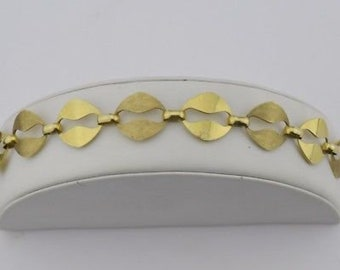9k Yellow Gold Mid Century Modern Chain Link Bracelet 8'' Long