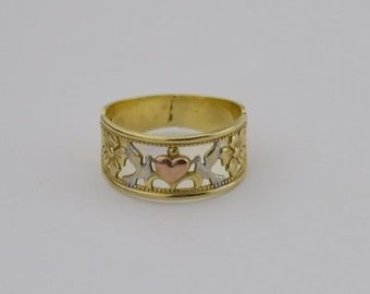 10k Yellow White & Rose Gold Love Birds Flower/Floral And Heart Band/Ring Size 7