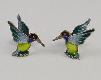 Sterling Silver 925 Enameled Hummingbird Earrings
