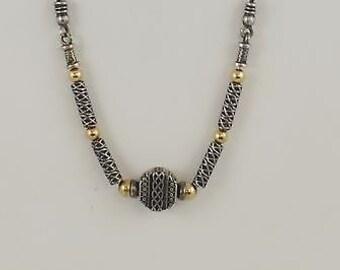 Sterling Silver 925 &14k YG Estate Zanfeld Designer Exotic Bead Necklace/Chain