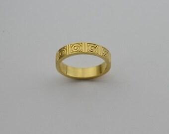 18k Yellow Gold Estate Greek Key Design Band/Ring Size 9