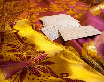 Old Jacquards Silk bedspread. Gold and fuchsia.