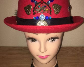 Red Steampunk Derby Hat