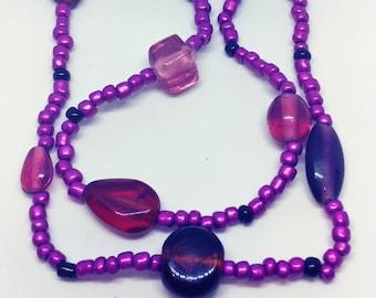 Handmade Purple People Eater 01 glass Bead Necklace