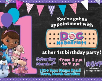 Doc McStuffins Chalkboard Birthday Invitation