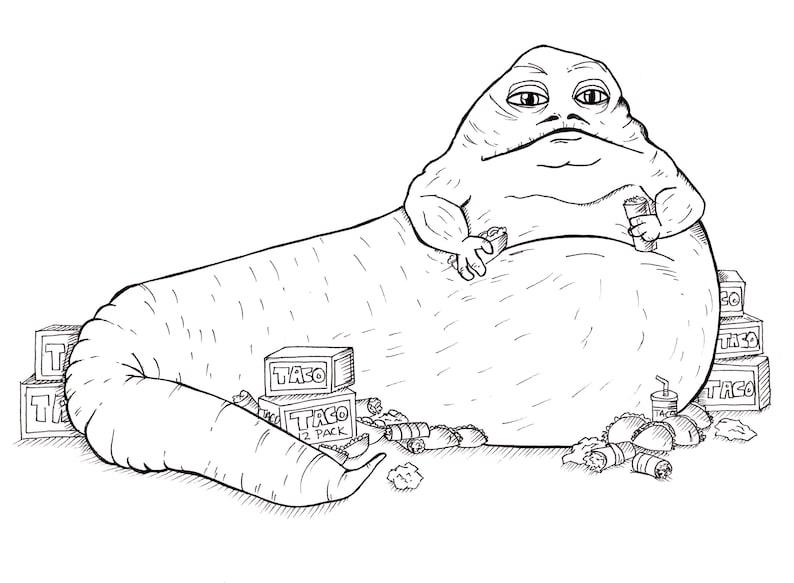 80d24388d33f Jabba The Taco Hutt Art illustration print fanart