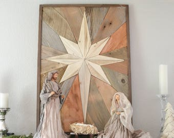 Wooden Christmas Star Mosaic