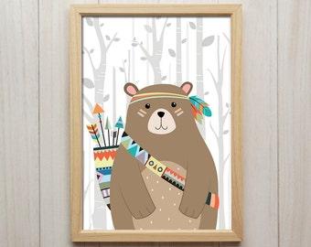 Tribal Bear Nursery Print, Woodland Animal Wall Art, Indian Theme Poster, Baby Shower Gift, Kids Playroom Decor, Bear Artwork