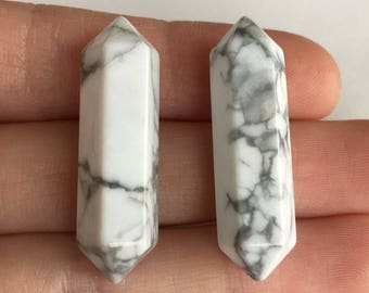 White Howlite DT Points 2pcs Gemstones