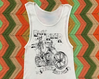 Womens Retro Vintage Inspired Motorcycle, Easy Rider, Skeleton, White Ribbed Tank Top, Soft Cotton, Gift